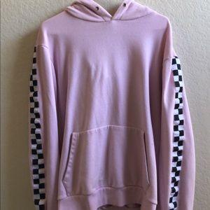 Checkered sleeved hoodie unisex